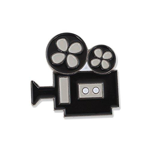 - Classic Movie Camera Black Nickel Plated Enamel Diestruck Lapel Pin- 1 Pin