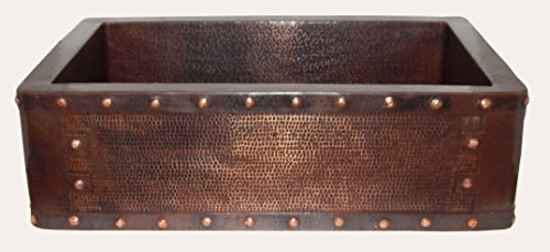 - Apron Front Farmhouse Kitchen Mexican Handhammered Copper Sink Rivets Single Bowl