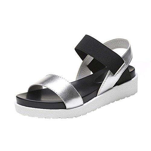 Creazrise Fashion Sandals Women's Aged Low Heel Leather Flat Sandals Ladies Platform Shoes Silver (Bow Side Platform Lace)