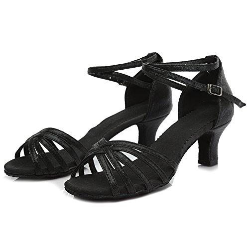 Schuhe Ausgestelltes Satin Tanzschuhe 5cm Ballsaal SWDZM Damen Absatz Schwarz Dance ModellD1810 Standard Latin YwURqa
