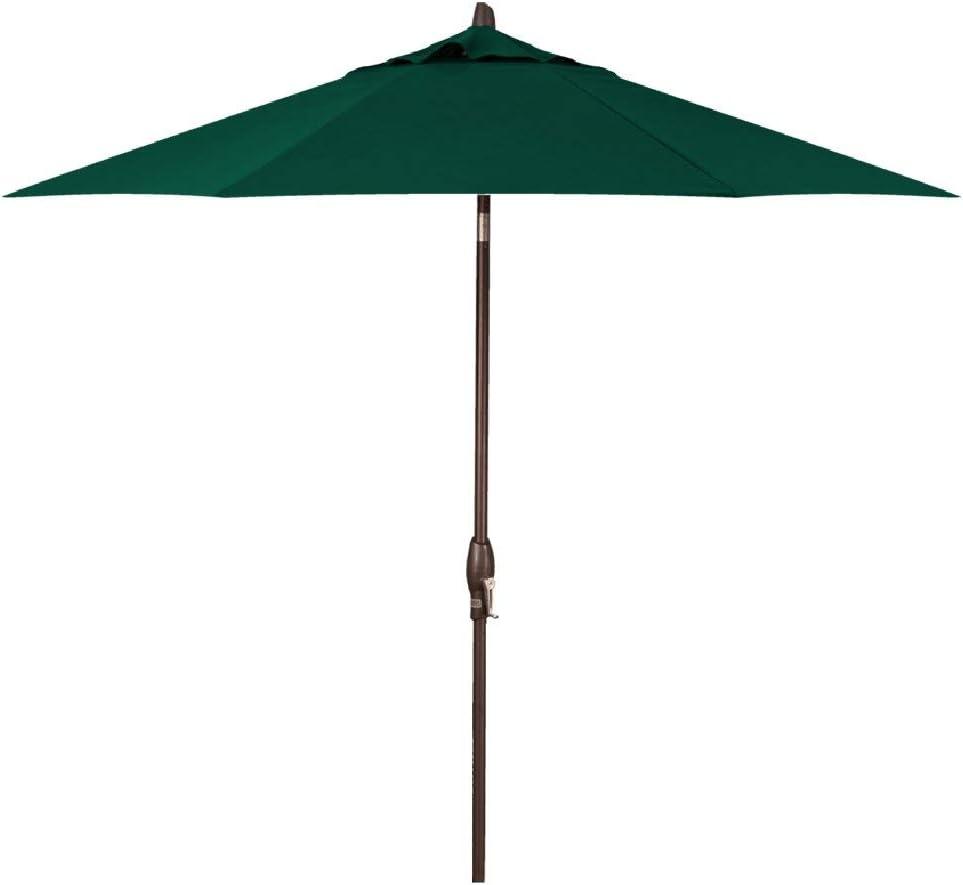 Treasure Garden 9-Foot Push-Button Tilt Market Umbrella with Bronze Frame and Obravia (4 YR Warranty) Fabric: Forest Green