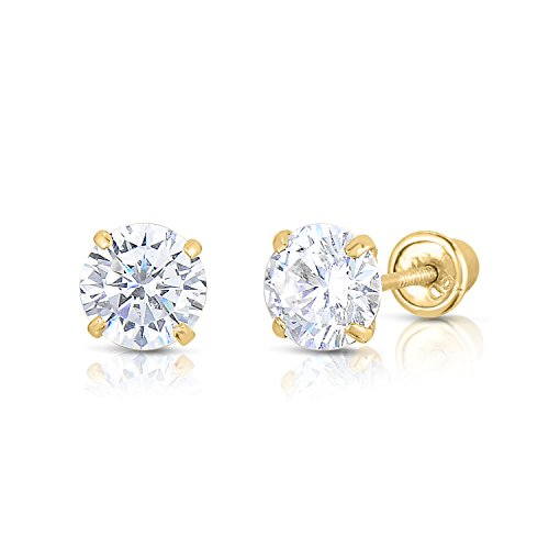 14k Yellow Gold Solitaire Round Cubic Zirconia Stud Earrings in Secure Screw-backs (5mm) 14k Yellow Gold Round Solitaire
