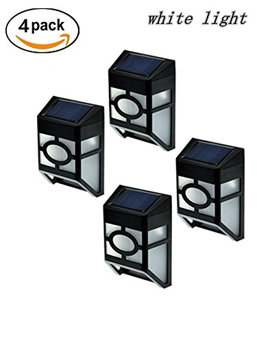 [Upgrade Slope Top]Falove 2-LED Mission-Style Solar Deck Accent Lights Wall Mount Solar LED Light*White Light*4pcs (Solar Deck Accent Lights)