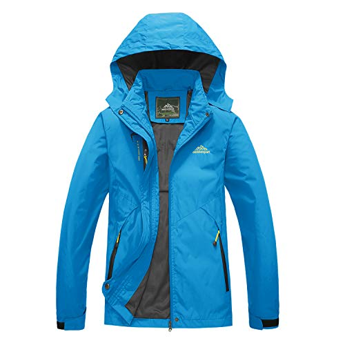 BIYLACLESEN Women's Hooded Outerwear Hiking Wind Shell Jacket Rain Coat Spring's Outwear Blue