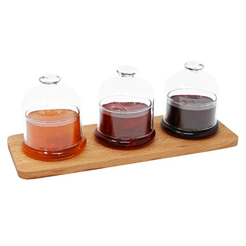 - Wooden Serving Tray With 3 Lidded Glass Jam Jars | Serving Ramekins with Caps | Decorative Serveware | Ideal for Tastings, Catered Events and Buffets | Home, Kitchen, Café, Dining Tabletop Accessory