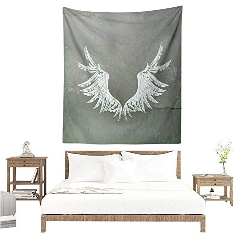 Agoza Grunge Living Room Tapestry Old-Fashion Coat of Arms Wings in Front of Cracked Dirty Wall Royal Insignia Design Literary Small Fresh 70W x 93L INCH Grey White