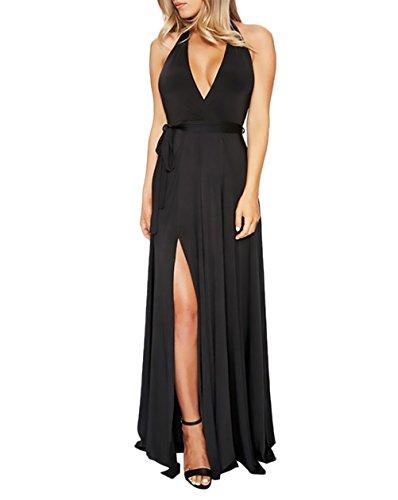 Damen Abendkleider Lang Elegant Mode Einfarbig Neckholder Kleider ...