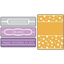 Sizzix Textured Impressions Embossing Folders 4PK - Birthday, Congrats & Thanks Set by Eileen Hull by Sizzix