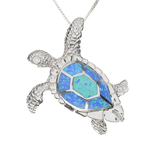 Sterling Silver Synthetic Opal Turtle Large Hidden Slide Bale Pendant Necklace (sterling-silver)