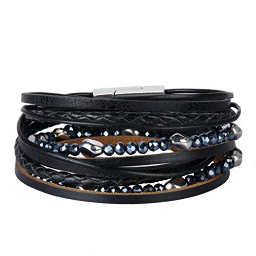 Jeilwiy Mom Leather Bracelet Multi-Layer Cuff Bangle with Magnetic Clasp Braided Casual Wrap Bracelet for Women,Teen Girls,Wife,Kids - Cuff Bracelet Magnetic Ladies
