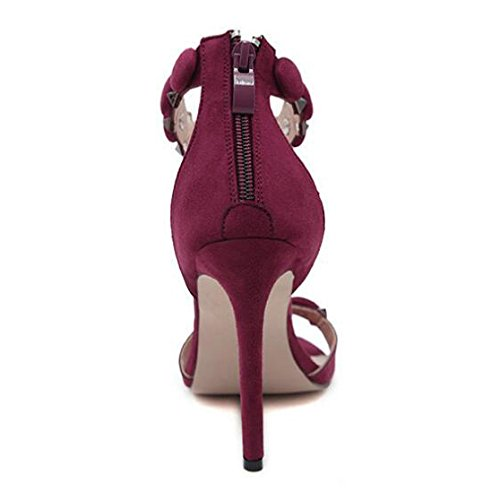 Womens Suede High Heel Sandals Ladies Open Toe Ankle Strap Barely There Sandals Evening Party Prom Shoes RedWine EwBibZ1T