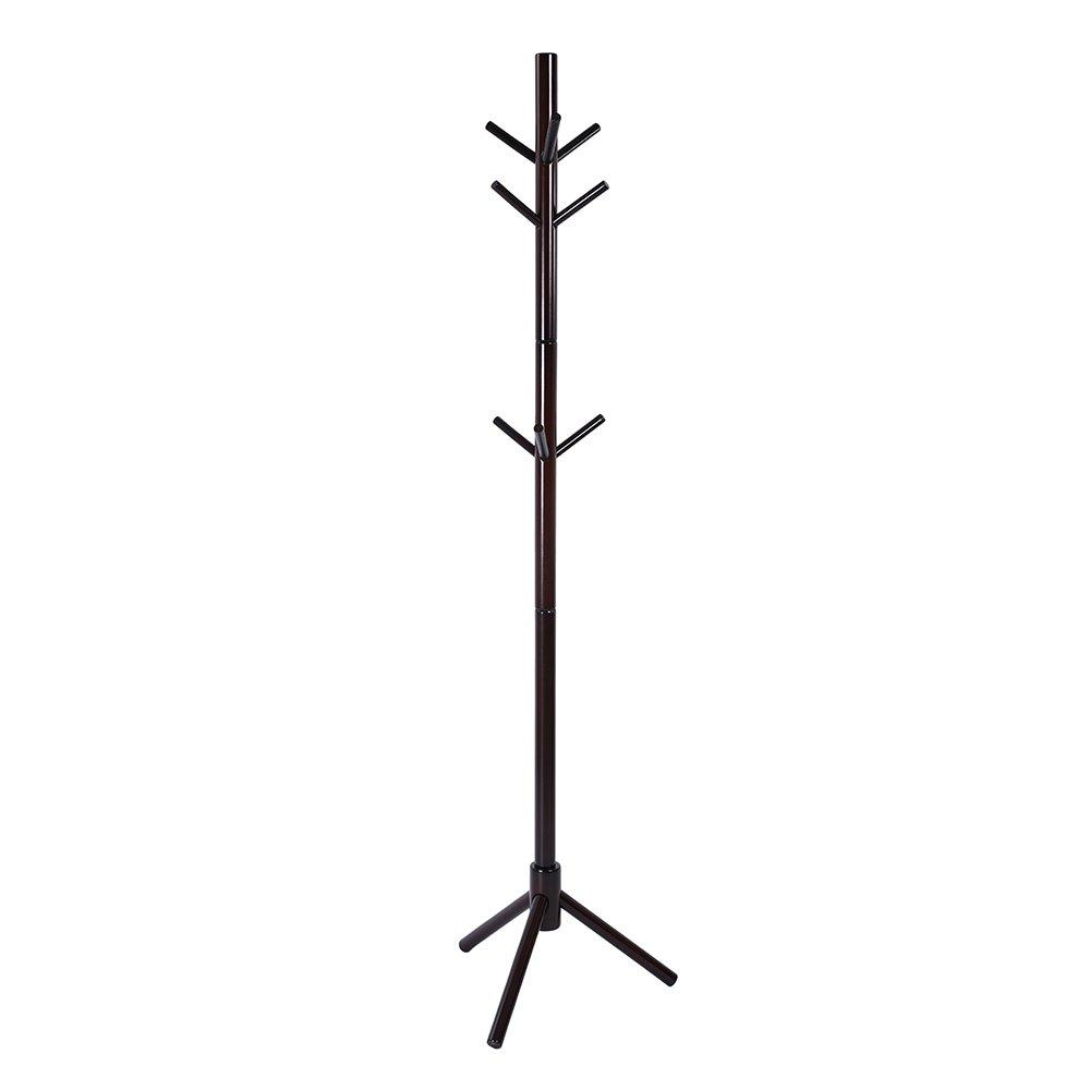 Genenic Coat Racks Free Standing,Modern DIY Entryway Wooden Clothing Rack Stand Hat Corner Hall Umbrella Tree for Bedroom Office (Coffee)