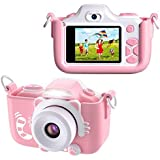 BlueFire Kids Digital Camera Mini 2 Inch Screen 16MP HD Child Camcorder Rechargeable Front and Rear Selfie Digital Camera with Cartoon Silicone Soft Cover & Micro SD Card, Kids(Pink)