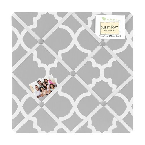 Gray and White Trellis Print Lattice Fabric Memory/Memo - Memo Photo Bulletin Board