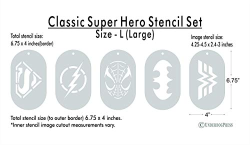 Set of 5 Large Stencils - Classic Super Heroes -