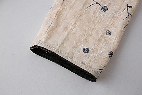 Fleur T de 3 Veste ACVIP shirt Chanvre de 4 Motif Chinois Coton Traditionnel Femme en Blouse Tang Abricot Manche qIwvIH7