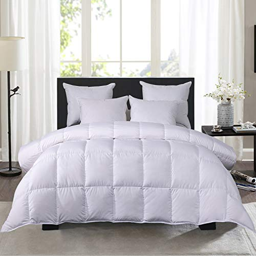 HOMBYS All Season White Duck Quilted Comforter Down Proof with Tab-Duvet Insert or Stand-Alone - Natural Goose Feather Down Fiber Filling Comforter Queen/Full-Hypoallergenic Lightweight(Queen,White)