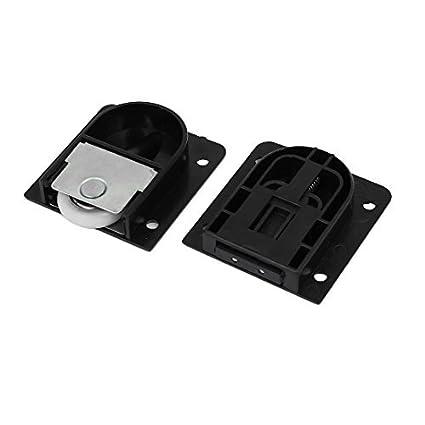 eDealMax armario ropero de componentes del rectángulo ajustable Placa de deslizamiento de rodillos negros 4pcs - - Amazon.com