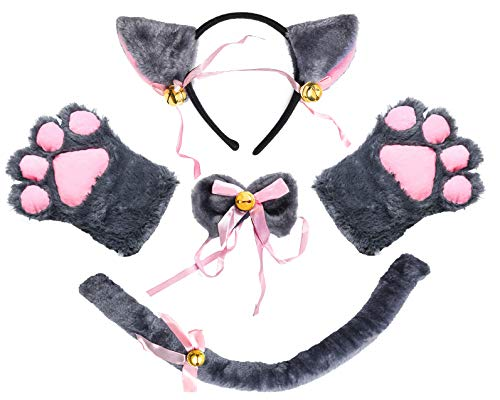 Beelittle Cat Cosplay Costume Kitten Ears Tail Collar Paws Cat Cosplay Collection 5 Pack (Gray) -