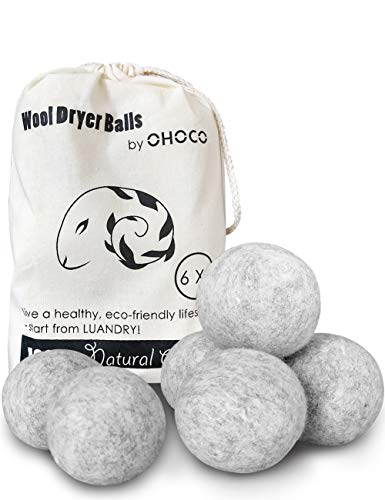OHOCO Wool Dryer Balls 6 Pack XL, Organic Natural Wool for Laundry, Fabric Softening - Anti Static, Baby Safe, No Lint, Odorless and Reusable Gray]()