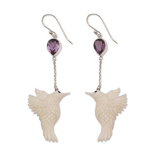 NOVICA Amethyst .925 Sterling Silver Cow Bone Dangle Earrings, Dancing Hummingbirds'
