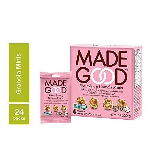 Bites Strawberry - MadeGood Strawberry Granola Minis, 6 Boxes (24 count); Granola Clusters Made with Crunchy Oats and Juicy Strawberries; Convenient, Individually-Wrapped Portions; Allergy-Friendly Snack
