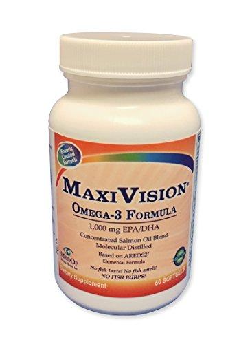 MaxiVision Омега - 3 рыбий жир, незаменимые жирные кислоты, масло огуречника, льняное масло, Формула 1000 мг EPA / DHA, для тела и видения и AMD дегенерация желтого пятна, на основе AREDS 2 исследования (Кол-во: 60)