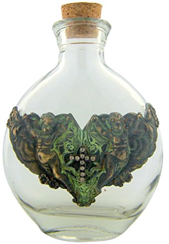 Vintage Holy Water Bottle 6 Ounce Glass Container With Guardian Angels And Cross