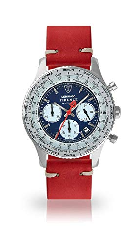 DETOMASO Firenze Racing Mens Watch Chronograph Analogue Quartz Dark Red Vintage Leather Strap Blue Dial DT1069-A-783