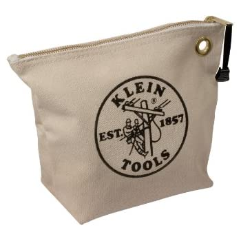 Amazon.com: Klein Tools 5139 12-1/2-Inch Canvas Zipper Bag,White ...