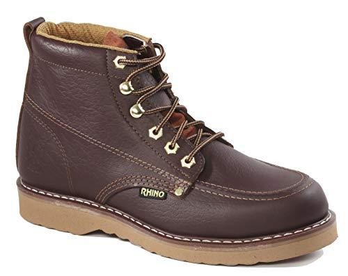 62M28 - Rhino 6 inch Moc Toe Leather Work Boot - Brown 8.5 ()