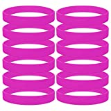GOGO 12 PCS Silicone Wristbands, Adult Rubber Bracelets, Party Accessories-Hotpink