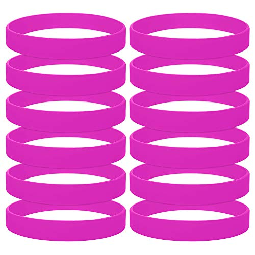 GOGO 12PCS Silicone Bracelets Adult-Sized Rubber Band Bracelets Wristbands for Party - Hot Pink -