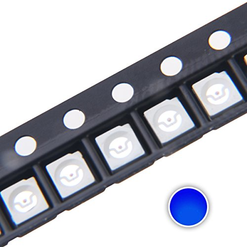 Chanzon 100 pcs 3528 (1210) Blue SMD LED Diode Lights Chips (Surface Mount PLCC 3.5mm x 2.8mm DC 3V 20mA) Super Bright Lighting Bulb Lamps Electronics Components Light Emitting Diodes ()