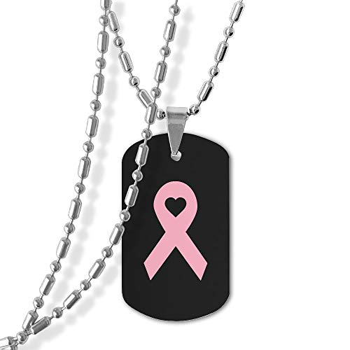 Military Necklace Breast Cancer Heart Zinc Alloy Dog Tag Pendant Jewelry