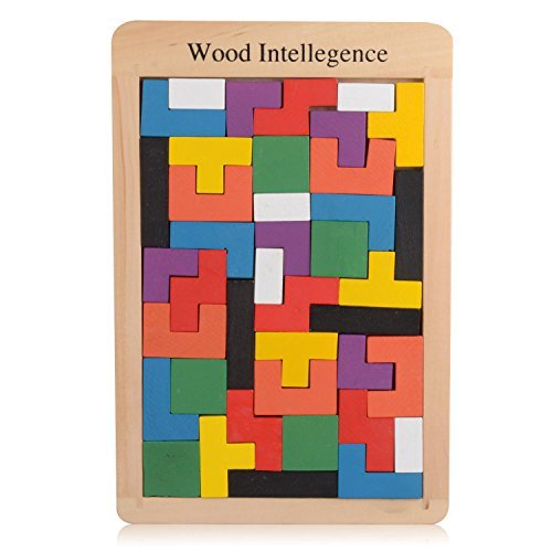 USATDD Wooden Tangram Jigsaw Building Blocks Game Tetris Puzzle Toy Sorting Board Colorful Educational Gift (40 Pieces)