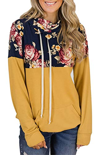 onlypuff Casual Floral Print Yellow Hoodie Sweatshirt Long Sleeve Shirts for Women Pocket Tunic Tops L