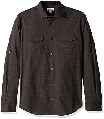 Calvin Klein Men's Long Sleeve Space Dye Roll Tab Button Down Shirt