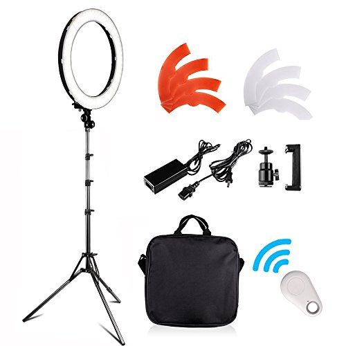 18 inch LED Ring Light Kit, FOSITAN 18 inches/48cm Outer 55W 5500K Dimmable 240 LED Ring lighting Kit with 2M Light Stand work with Smartphone and SLR Camera for Vlogging, Make-up artist, Videographer
