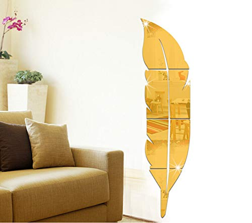 Mirror Wall Stickers Feather Fitting Mirror Mirror 3D Stereo Acrylic Mirror Bathroom -
