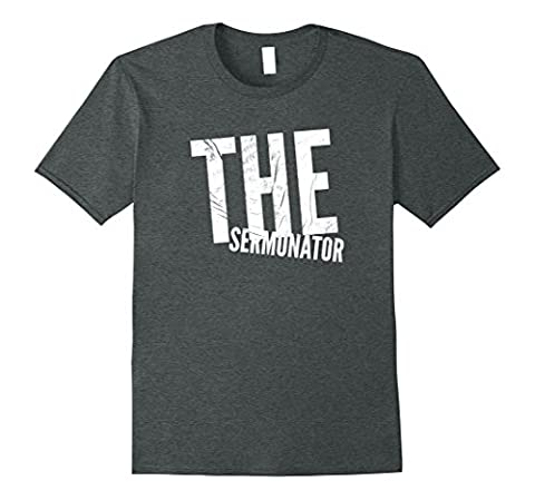 Mens The Sermonator T-shirt Funny Pastor Preacher For Church Large Dark Heather (Funny Pastor Gifts)