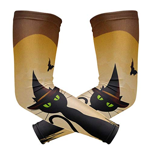 Arm Sleeves Halloween Witch's Cat and Full Moon Pattern Fashion Sports UV Sun Protection Arm Sleeve Cover Gloves 1 -