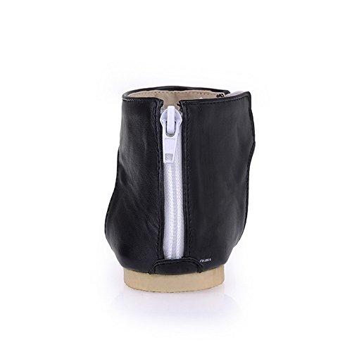AalarDom Mujer Puntera Dividida Mini Tacón Pu Sólido Sandalias de vestir Negro-LL