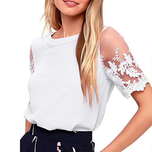 - Shy Velvet Women's Lace Sleeve Top Chiffon Blouses Shirts White