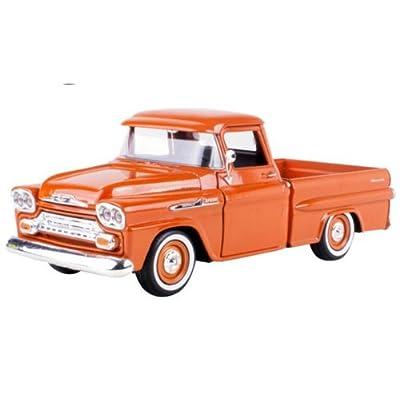 1958 Chevrolet Apache Fleetside Pickup Orange 1/24 by Motormax 79311: Toys & Games