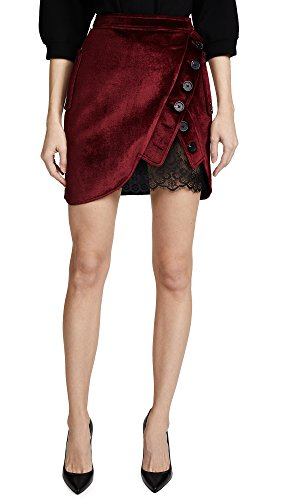 Self Portrait Women's Velvet Utility Miniskirt, Burgundy, 8 by Self Portrait