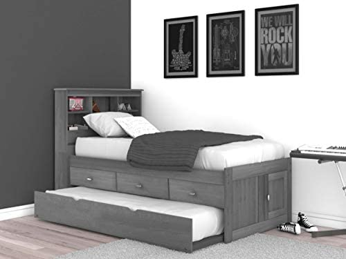 Discovery World Furniture Charcoal Twin Bookcase Bed