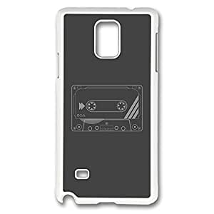 Galaxy Note 4 Case, Creativity Design Cassette Print Pattern Perfection Case [Anti-Slip Feature] [Perfect Slim Fit] Plastic Case Hard White Covers for Samsung Galaxy Note 4
