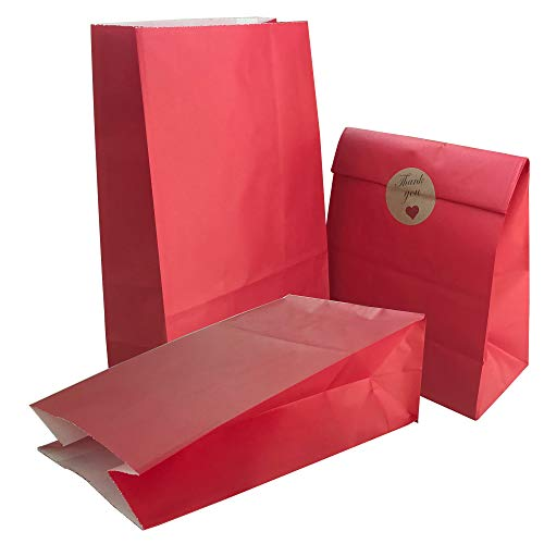 Party Bag 50 pcs Food Safe Kraft Paper and Ink, Natural (Biodegradable), Vivid Colored Candy Cookie Buffet Bags, Bottom Square Bag.Red.with 48 pcs Thank You Stickers 1.5 inch.]()