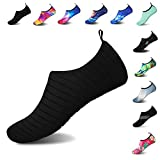 Mens Womens Water Shoes Barefoot Beach Pool Shoes Quick-Dry Aqua Yoga Socks for Surf Swim Water Sport (Black, 38/39EU)